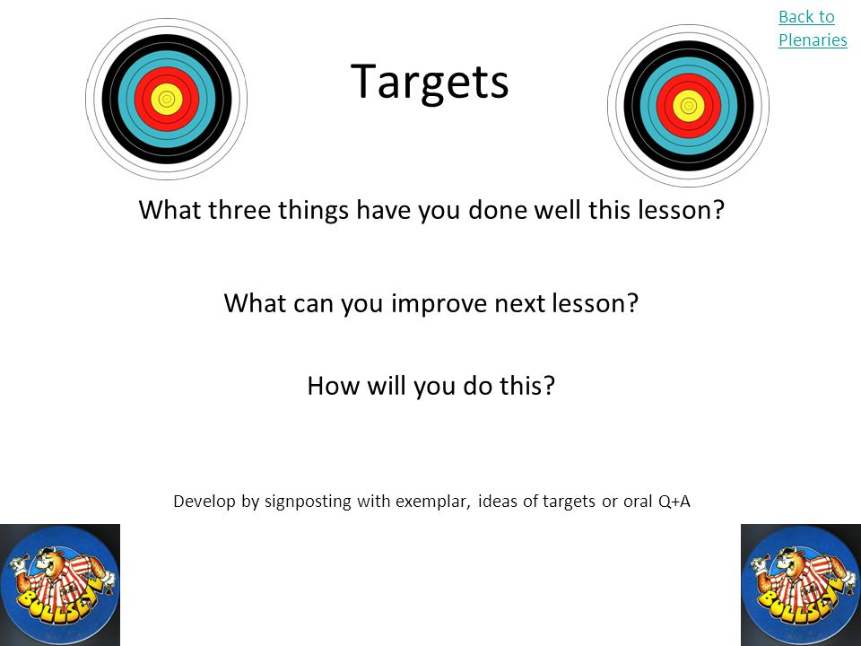 Targets What three things have you done well this lesson