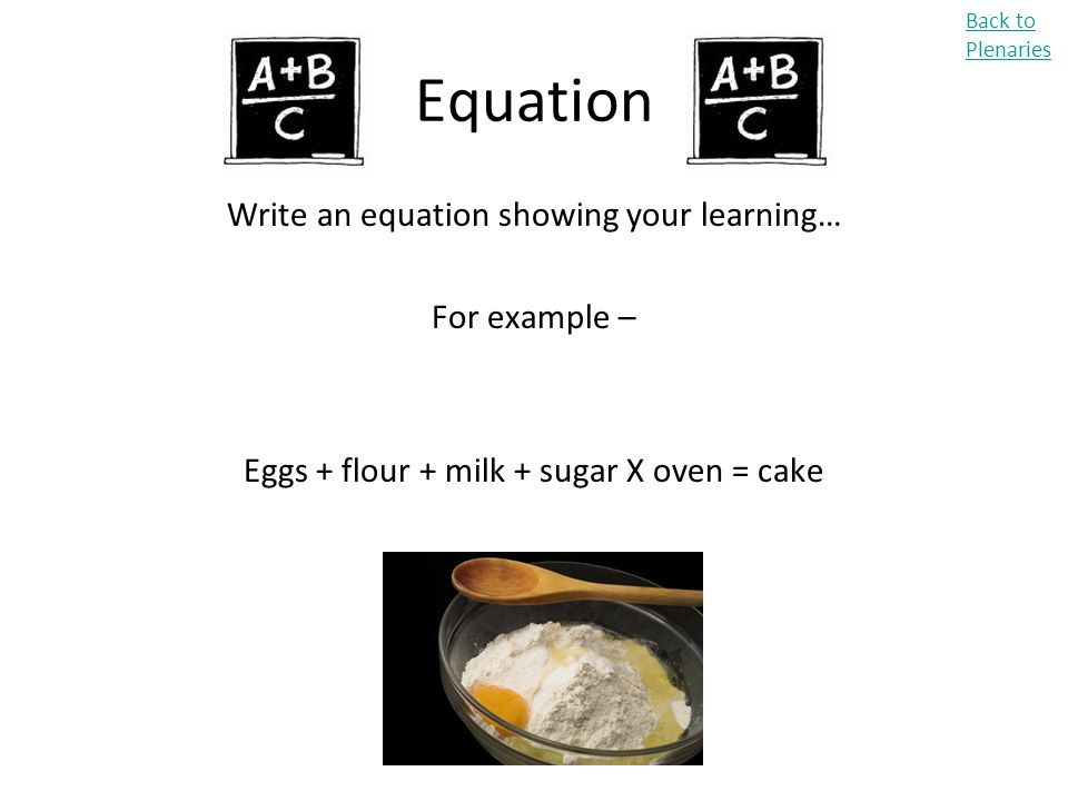 Equation Write an equation showing your learning… For example –
