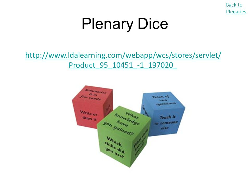 Back to Plenaries Plenary Dice.