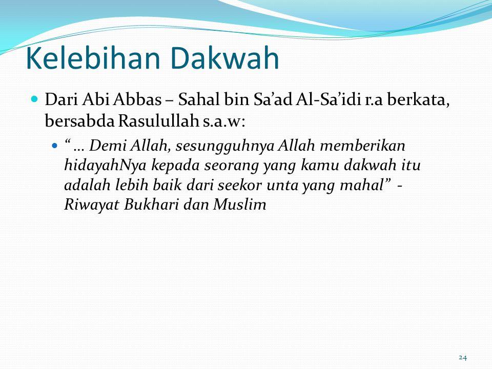 Kelebihan Dakwah Dari Abi Abbas – Sahal bin Sa'ad Al-Sa'idi r.a berkata, bersabda Rasulullah s.a.w: