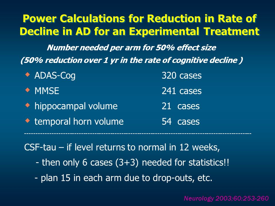 Power Calculations for Reduction in Rate of Decline in AD for an Experimental Treatment