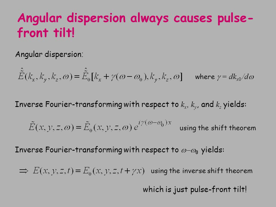 Angular dispersion always causes pulse-front tilt!
