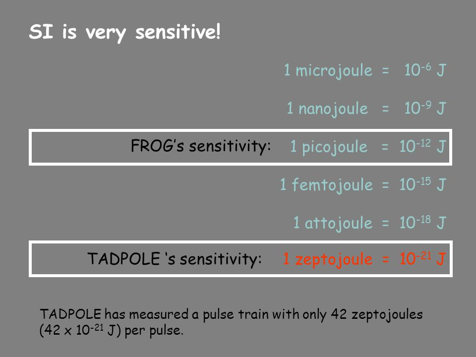 SI is very sensitive! 1 microjoule = 10-6 J 1 nanojoule = 10-9 J