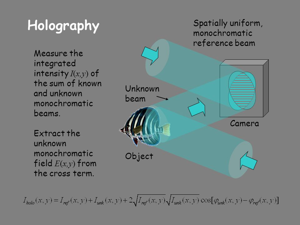 Holography Spatially uniform, monochromatic reference beam