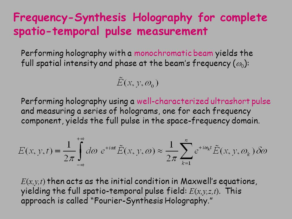 Frequency-Synthesis Holography for complete spatio-temporal pulse measurement