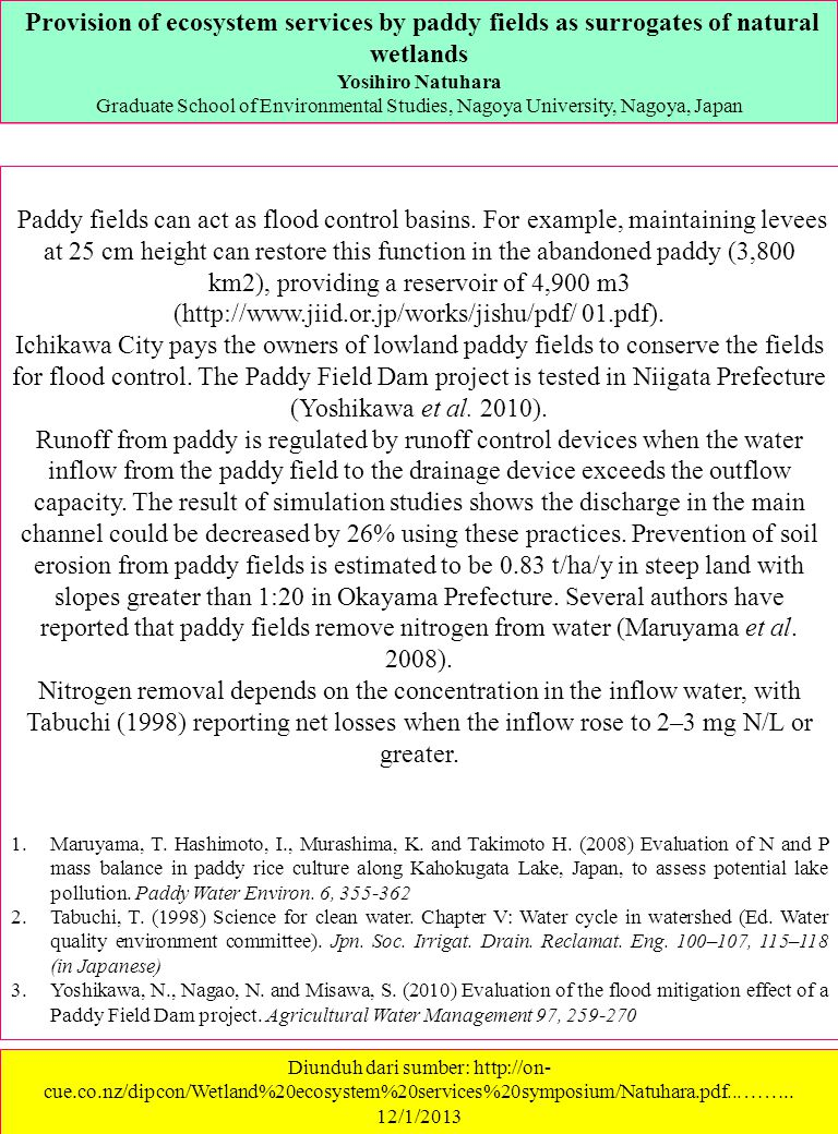 Provision of ecosystem services by paddy fields as surrogates of natural wetlands
