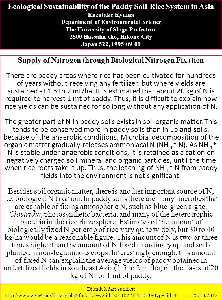 Supply of Nitrogen through Biological Nitrogen Fixation