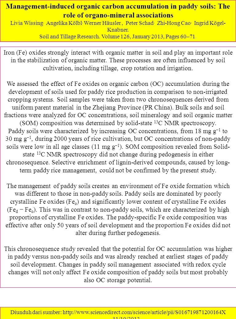 Soil and Tillage Research. Volume 126, January 2013, Pages 60–71.