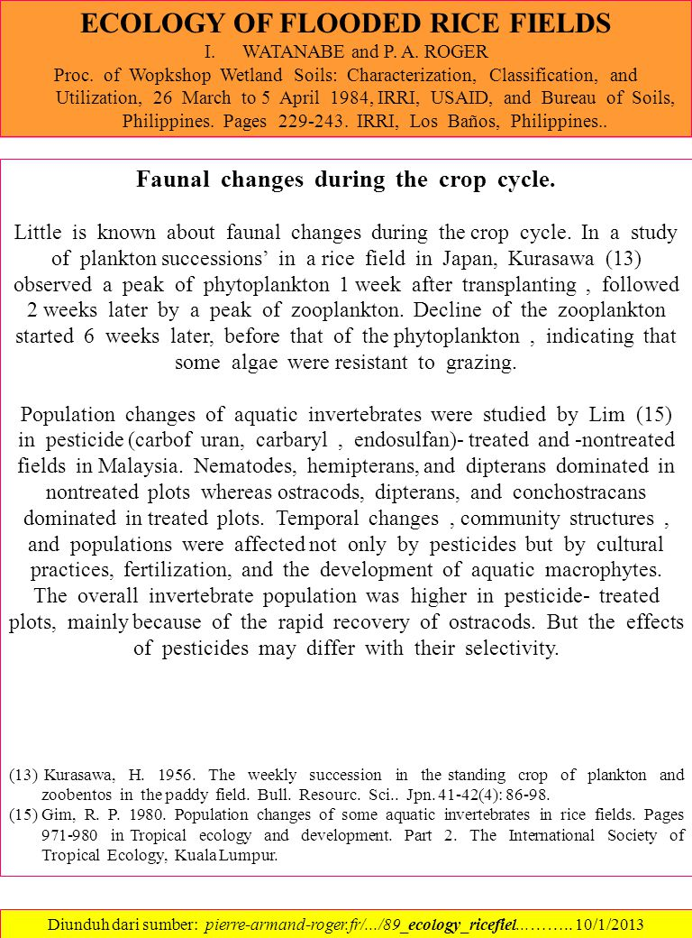 ECOLOGY OF FLOODED RICE FIELDS Faunal changes during the crop cycle.