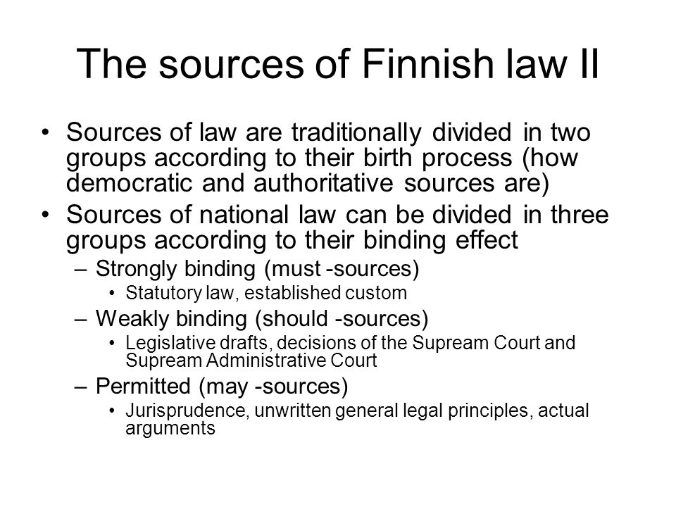 The sources of Finnish law II