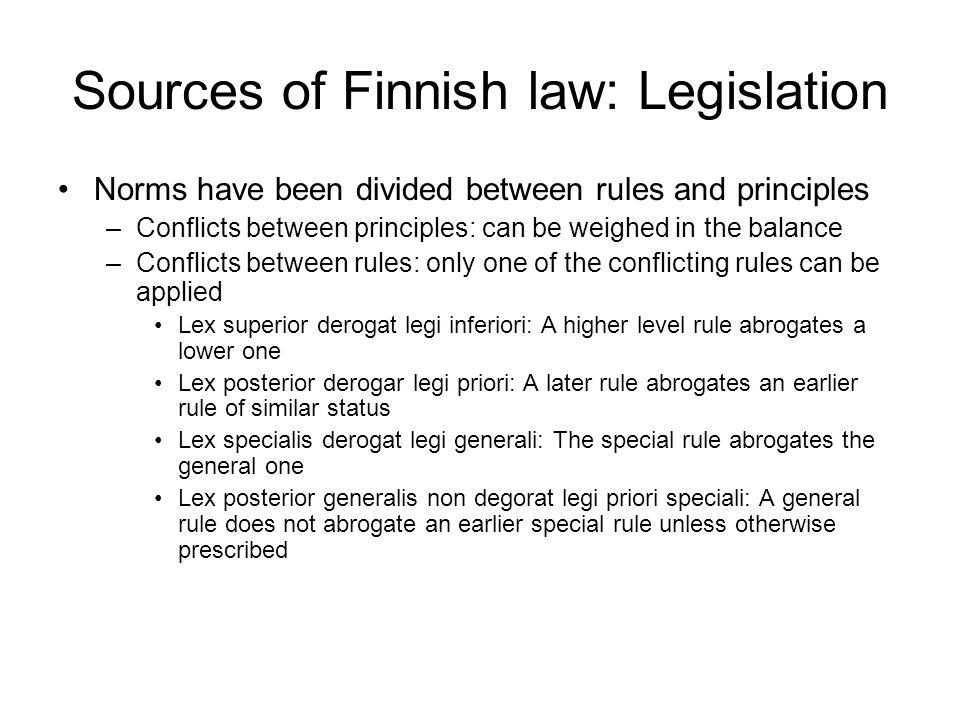 Sources of Finnish law: Legislation