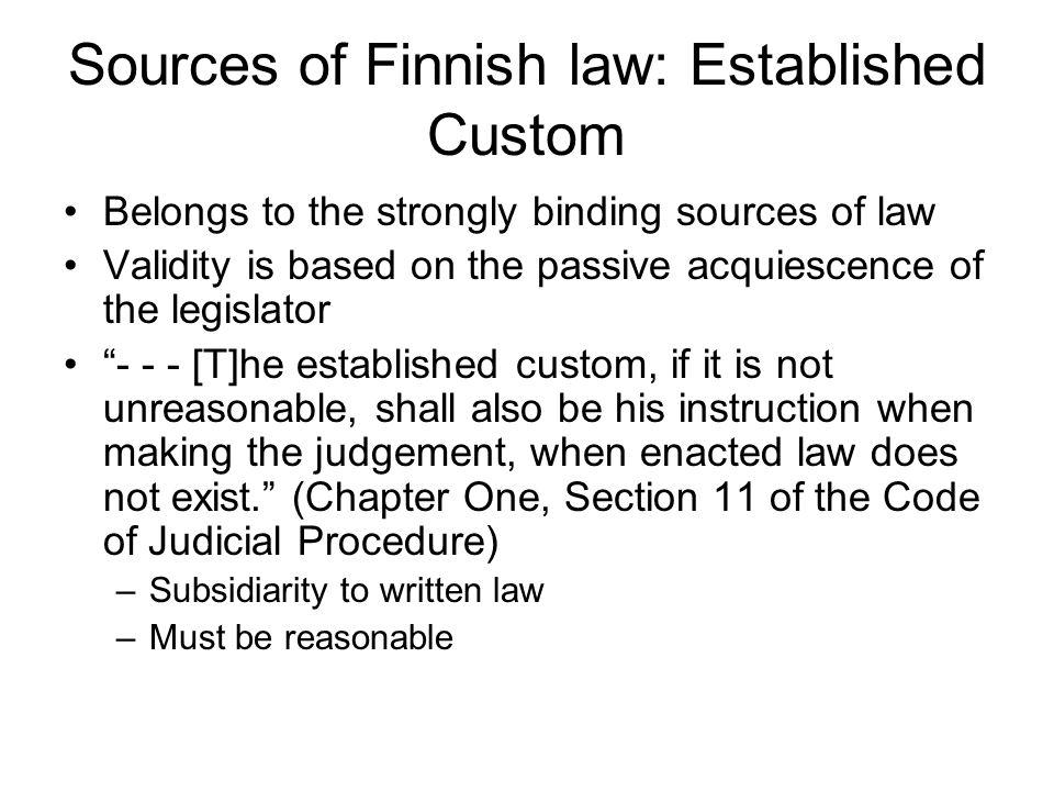 Sources of Finnish law: Established Custom