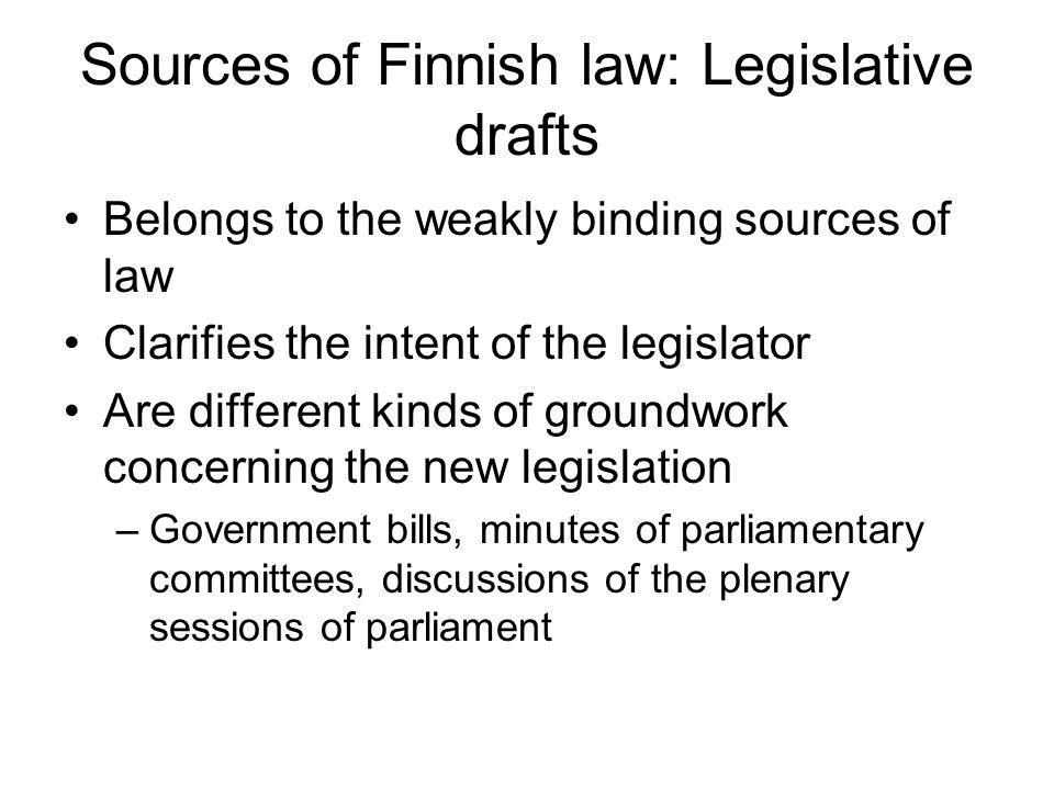 Sources of Finnish law: Legislative drafts