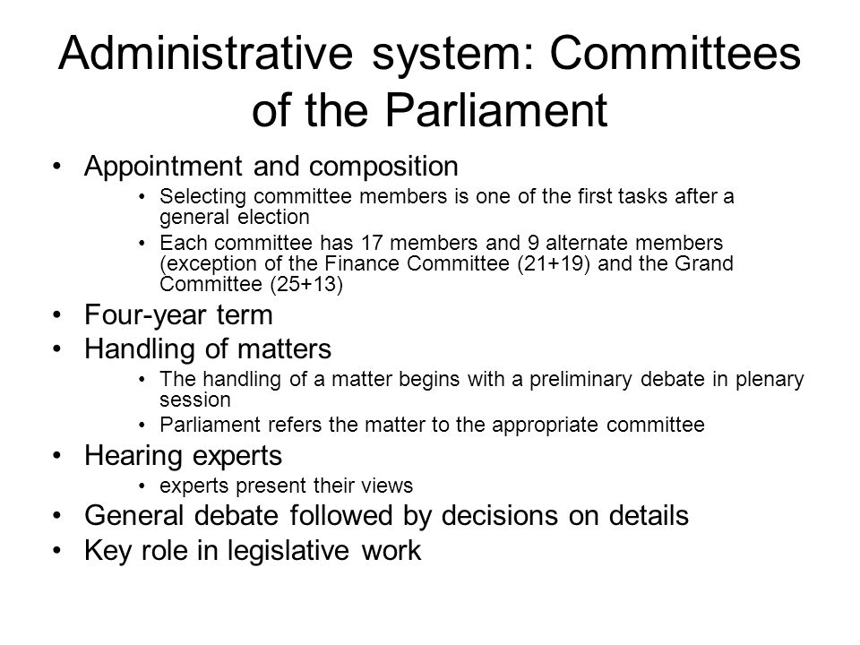 Administrative system: Committees of the Parliament