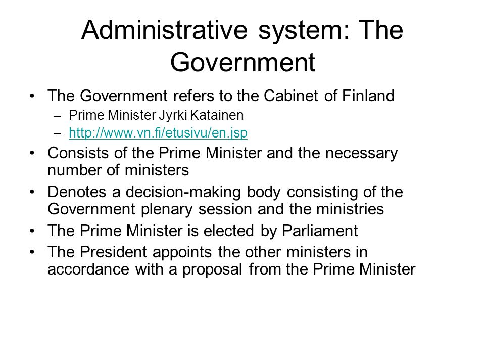 Administrative system: The Government