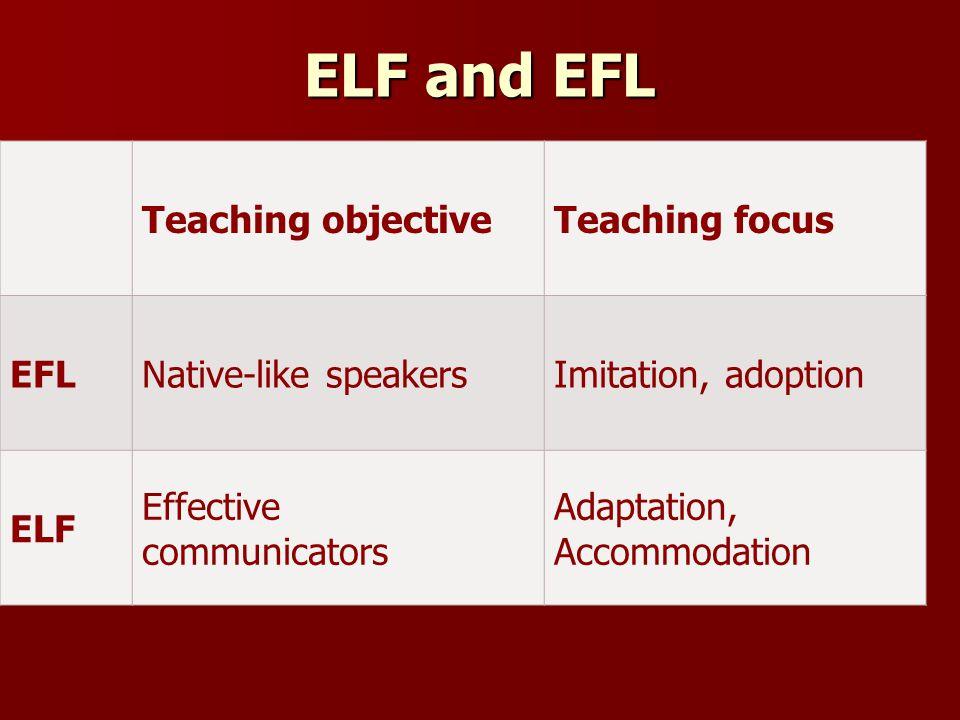 ELF and EFL Teaching objective Teaching focus EFL Native-like speakers