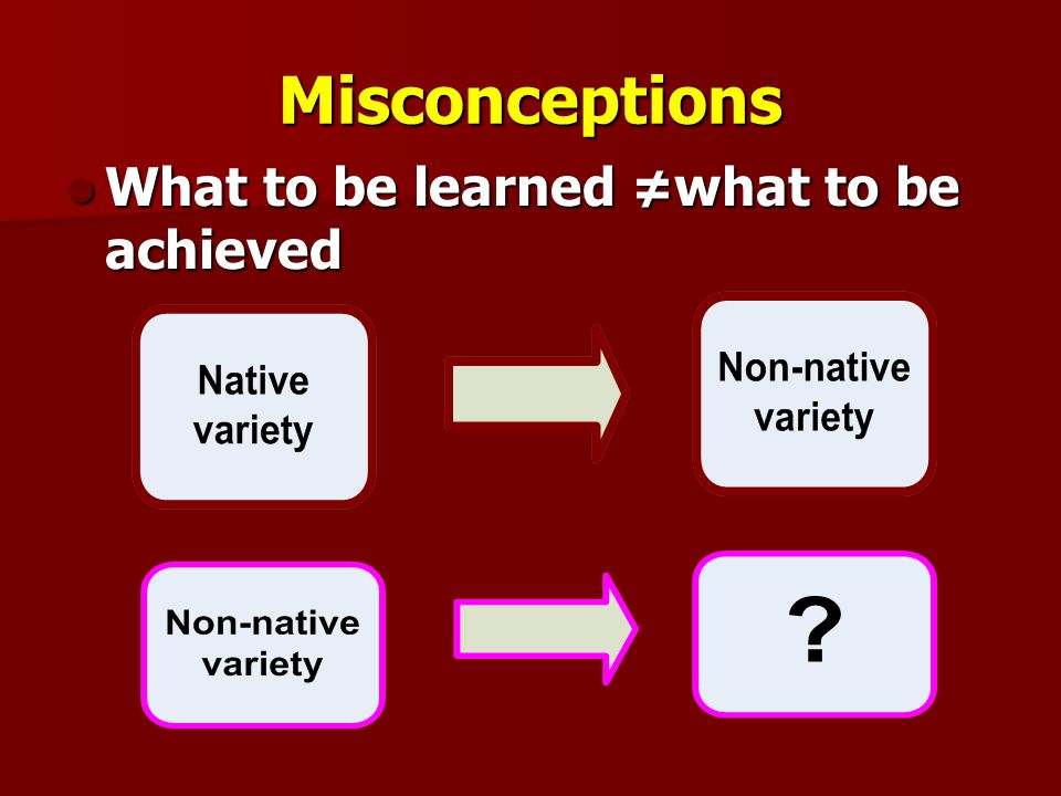 Misconceptions What to be learned ≠what to be achieved