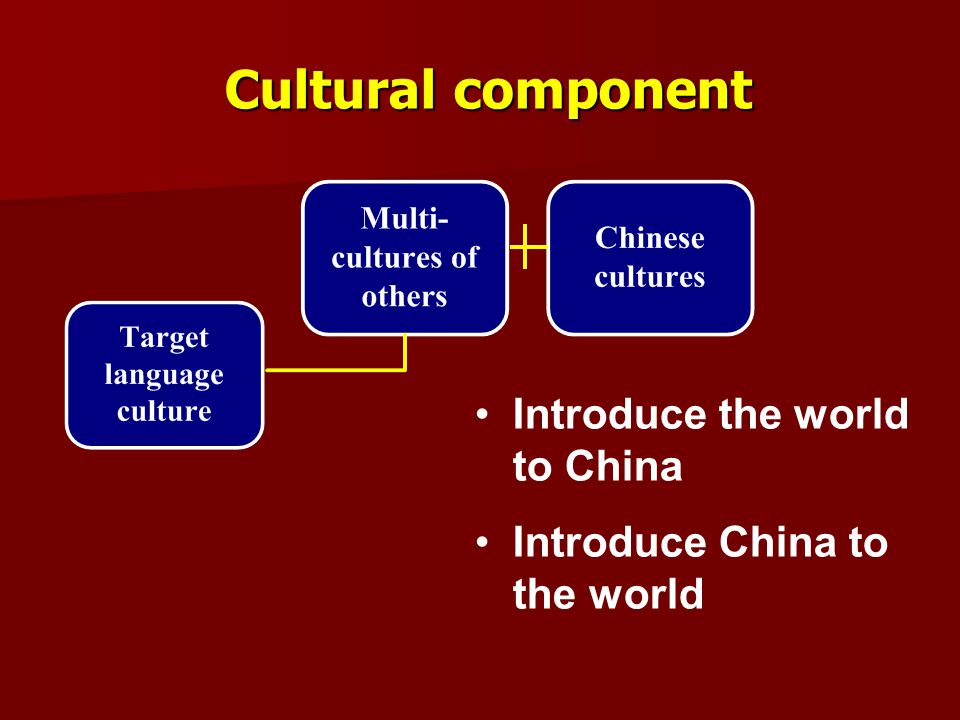 Cultural component Introduce the world to China