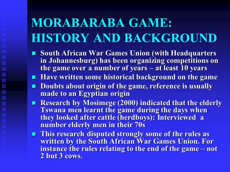 MORABARABA GAME: HISTORY AND BACKGROUND