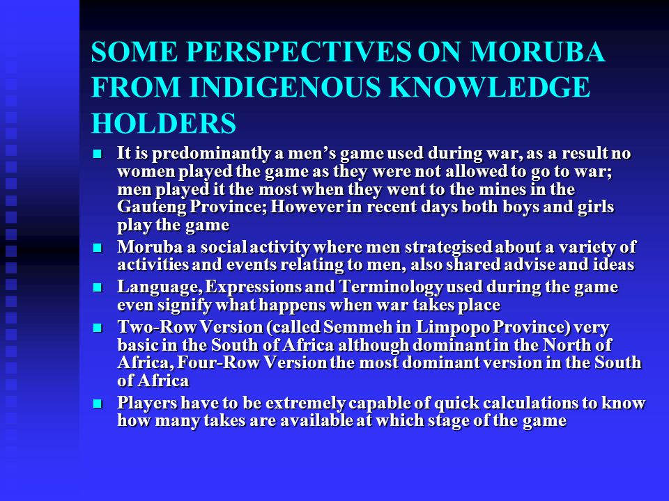 SOME PERSPECTIVES ON MORUBA FROM INDIGENOUS KNOWLEDGE HOLDERS
