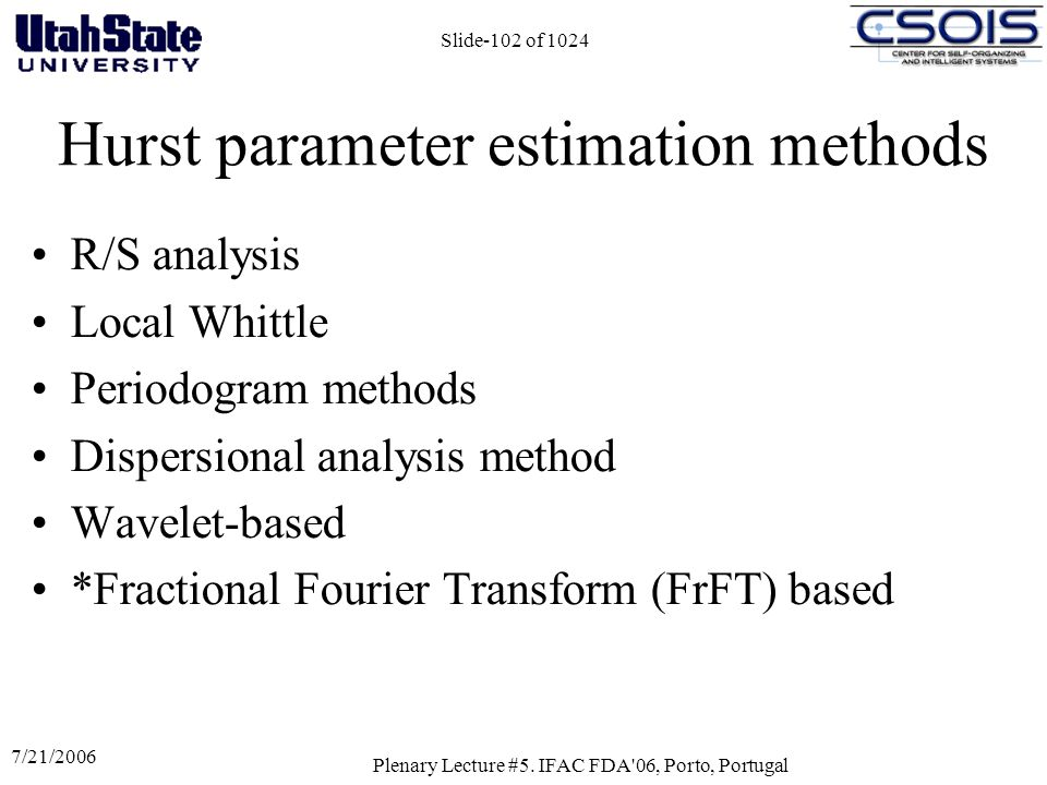 Hurst parameter estimation methods