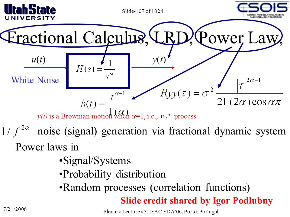 Fractional Calculus, LRD, Power Law,