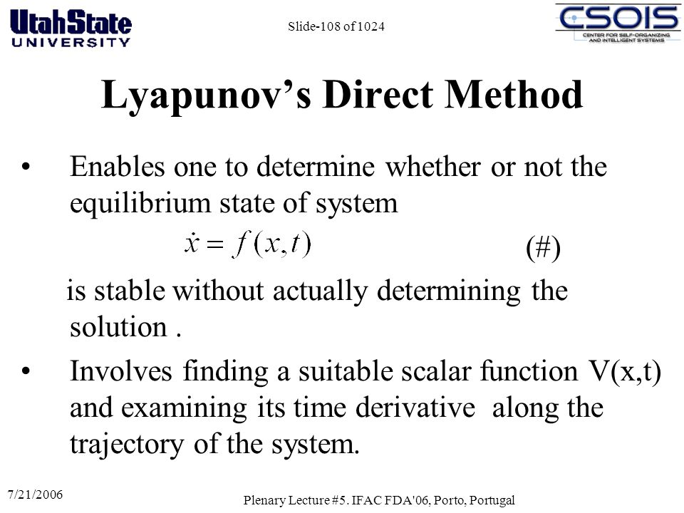 Lyapunov's Direct Method