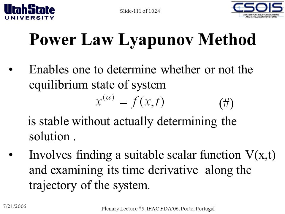 Power Law Lyapunov Method