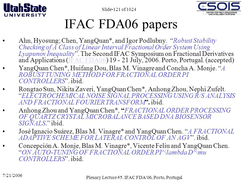Plenary Lecture #5. IFAC FDA 06, Porto, Portugal