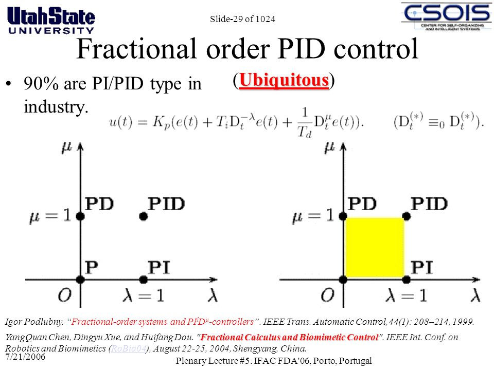 Fractional order PID control