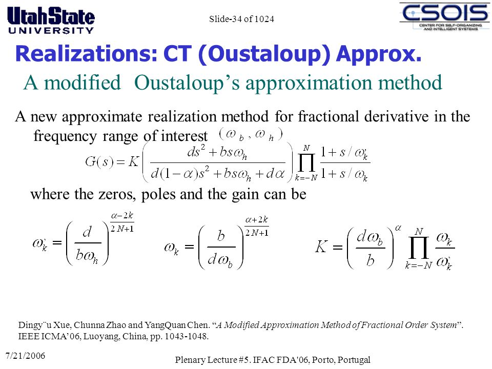 A modified Oustaloup's approximation method
