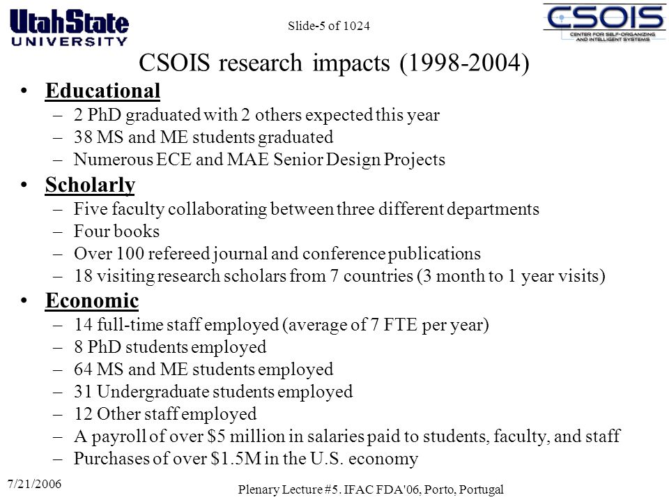 CSOIS research impacts (1998-2004)