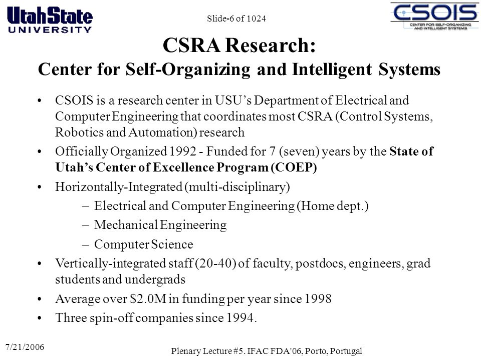 CSRA Research: Center for Self-Organizing and Intelligent Systems