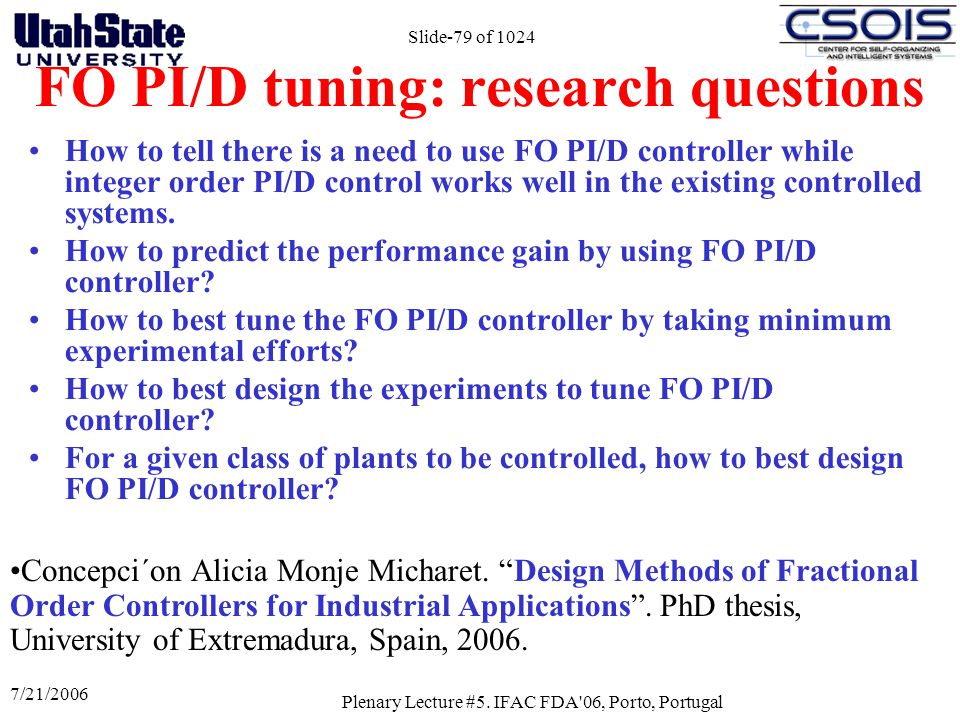 FO PI/D tuning: research questions