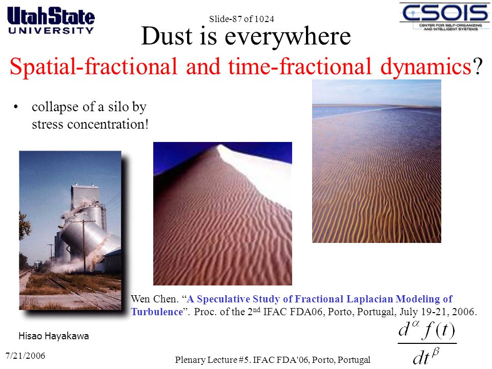 Dust is everywhere Spatial-fractional and time-fractional dynamics