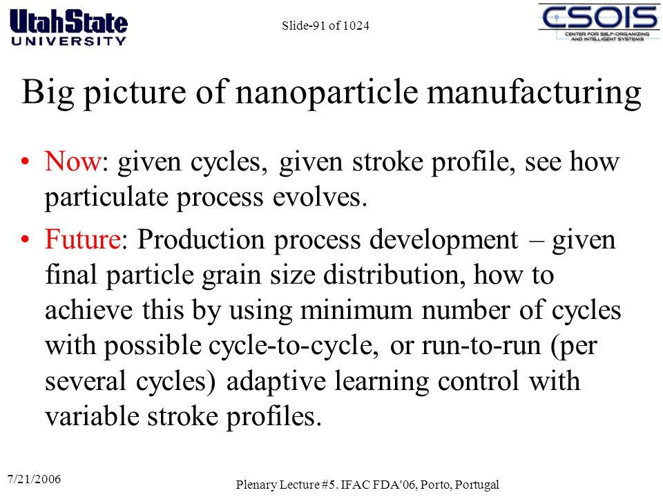 Big picture of nanoparticle manufacturing