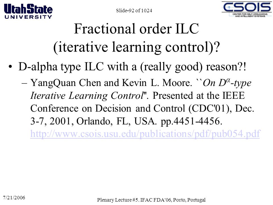 Fractional order ILC (iterative learning control)