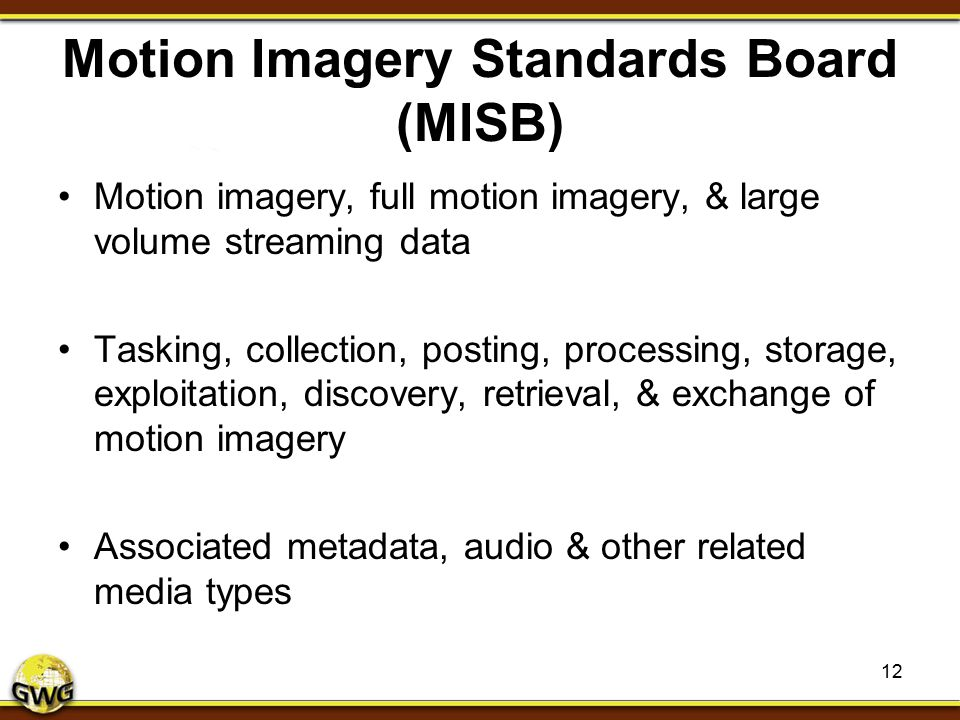 Motion Imagery Standards Board (MISB)