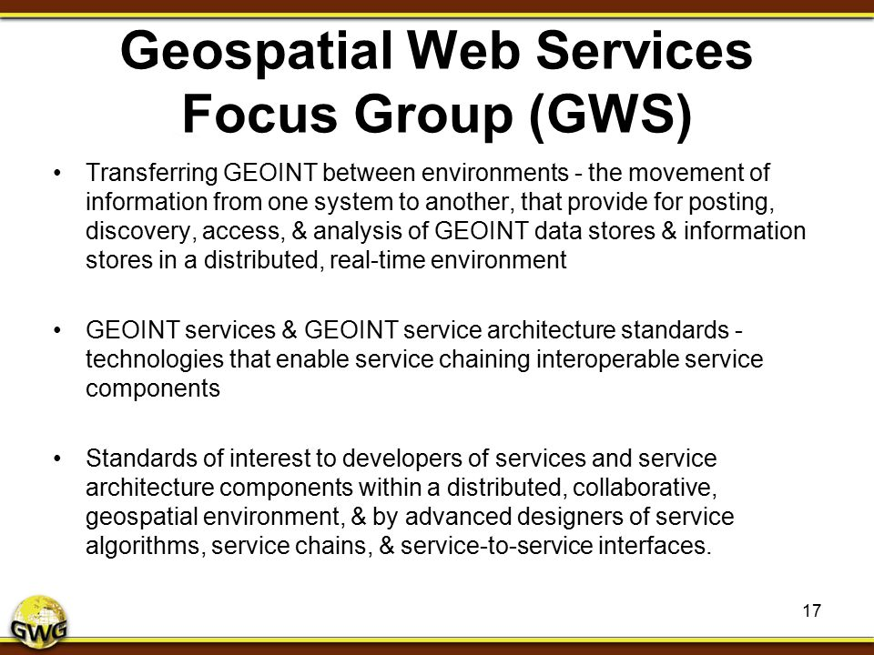 Geospatial Web Services Focus Group (GWS)