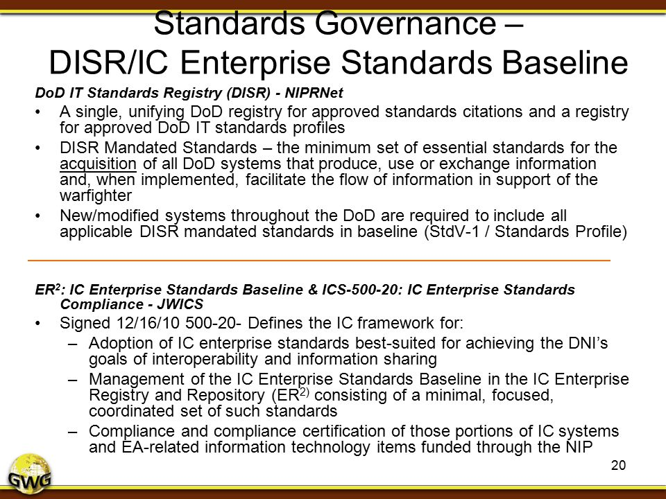 Standards Governance – DISR/IC Enterprise Standards Baseline