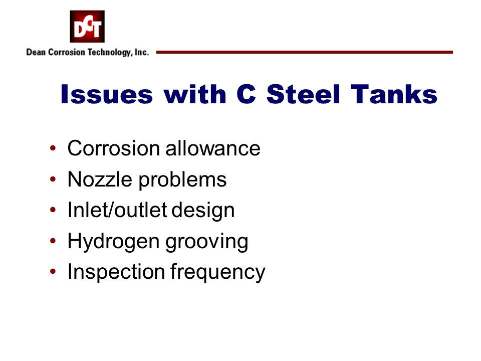 Issues with C Steel Tanks