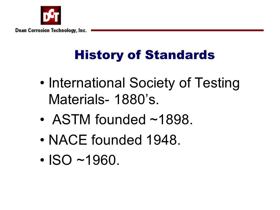 International Society of Testing Materials- 1880's.