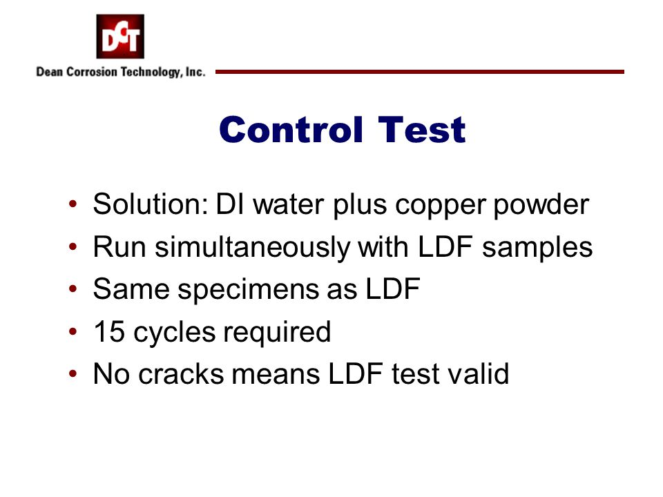 Control Test Solution: DI water plus copper powder