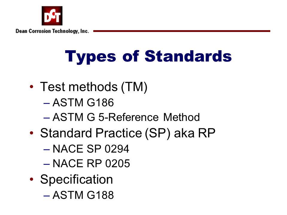 Types of Standards Test methods (TM) Standard Practice (SP) aka RP
