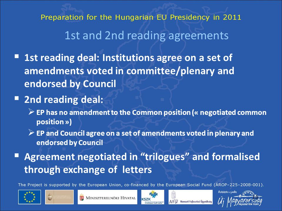 1st and 2nd reading agreements