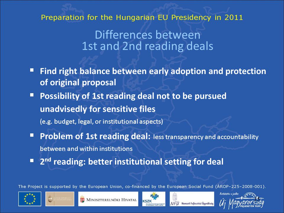 Differences between 1st and 2nd reading deals
