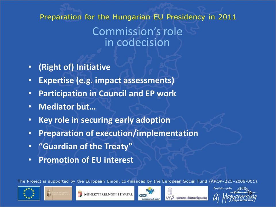 Commission's role in codecision