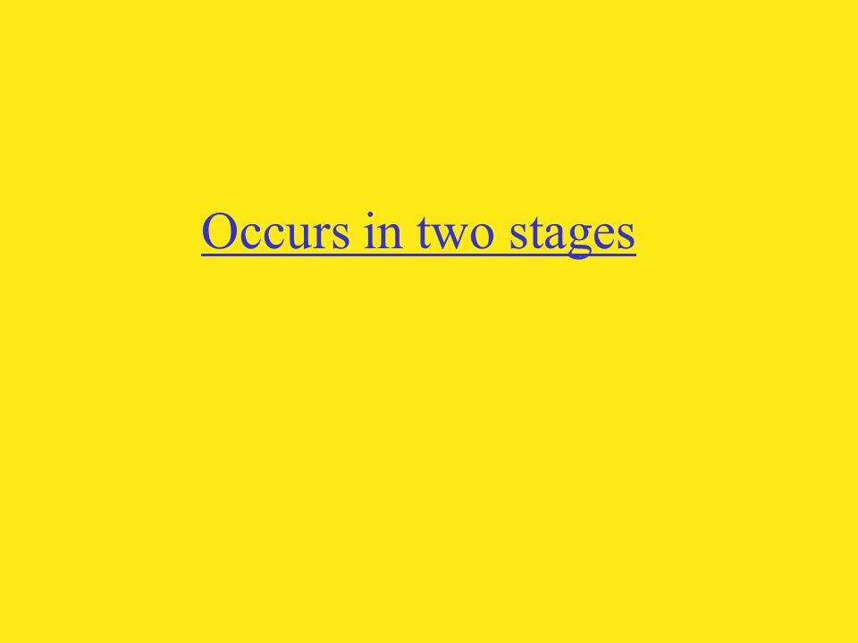 Occurs in two stages