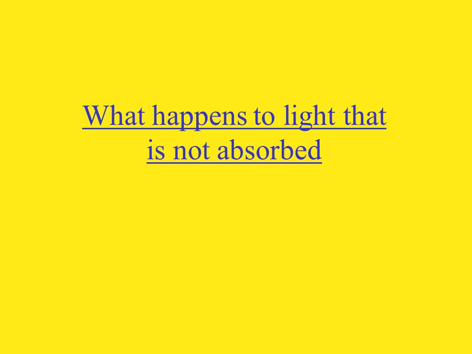 What happens to light that is not absorbed