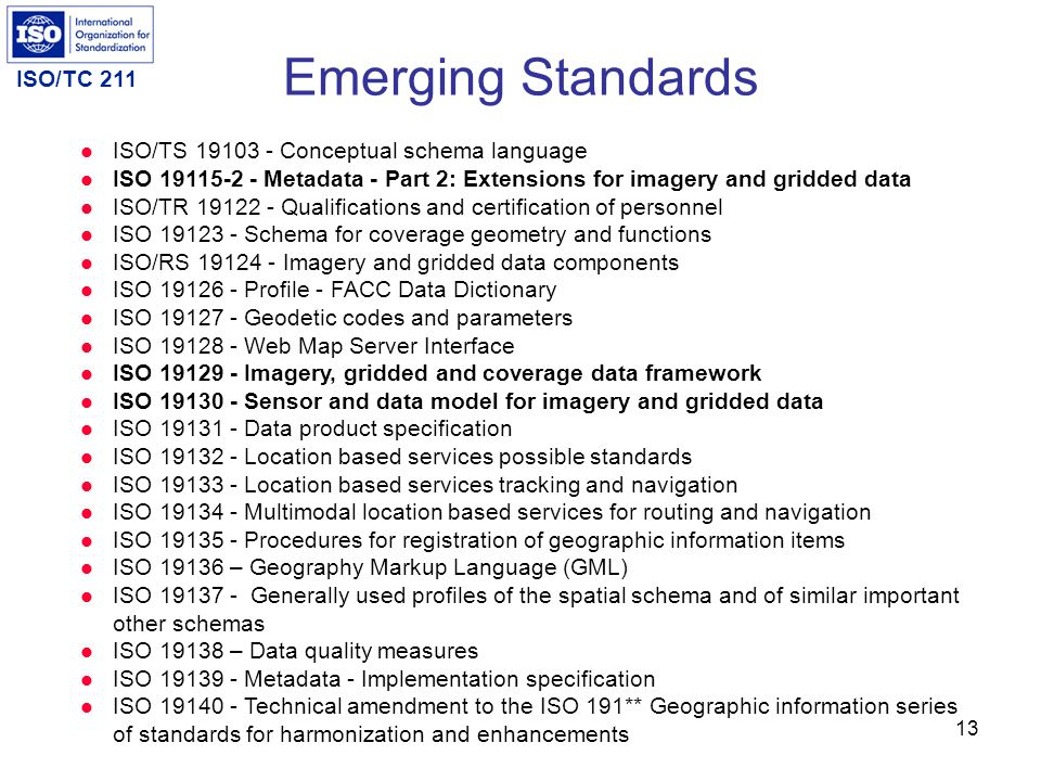 Emerging Standards ISO/TS 19103 - Conceptual schema language